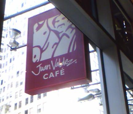 The Juan Valdez Cafe sign, Broadway, NYC